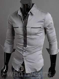 Mens Patched Closure Long Sleeve Cotton Dress Shirt 3 Colors M L XL