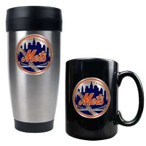 New York Mets MLB Stainless Steel Travel Tumbler & Black Ceramic Mug