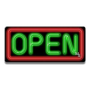 Neon Open Sign   Red Border & Green Letters: Office Products