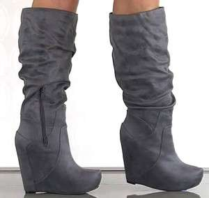 JESSICA SIMPSON Nya GREY Knee Boots Wedges Tall Suede Platform Womens