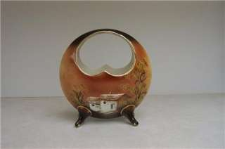 NIPPON LOOK BASKET VASE HAND PAINTED 1905 SIGNED VINTAGE