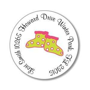 Polka Dot Pear Design   Round Stickers (Baby Shoes in Pink