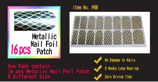 P88 Metallic Nail Foil Patch Art Sticker DIY 16pcs