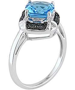 14k White Gold Blue Topaz & Black Diamond Ring