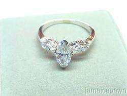 14k WHITE GOLD DIAMOND MARQUISE ENGAGEMENT RING with .85 carats