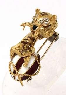 VINTAGE 18K GOLD & DIAMONDS 3D TIGER ENAMEL PIN BROOCH