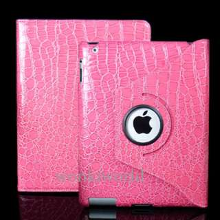iPad 2 Crocodile Leather Smart Case Cover Stand Pink