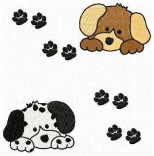 Puppy Dogs and Paw Prints Machine Embroidery Design CD