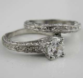 CT BRILLIANT ROUND CUT ANTIQUE CARVED WEDDING RING SET SOLID 14K GOLD