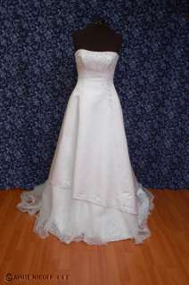 White Satin w Organza Strapless Beaded Wedding Dress 10