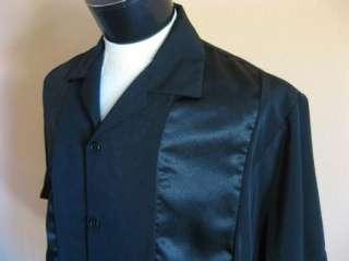NEW 50s Rockabilly RAT PACK Hipster Black on Black Panel Bowling Shirt