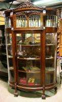 Head Beveled Lead Curved Glass China Cabinet Cupboard Antique