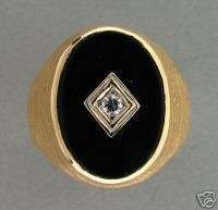 14K BRUSHED YELLOW GOLD MENS OVAL ONYX & DIAMOND 1960's RING