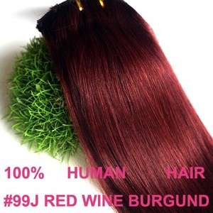 20CLIP IN HUMAN HAIR EXTENSIONS RED WINE BURGUNDY #99J
