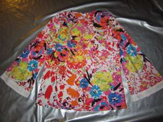 PRINT BLOUSE Tunic Top White Multi Cotton Shirt Size LARGE