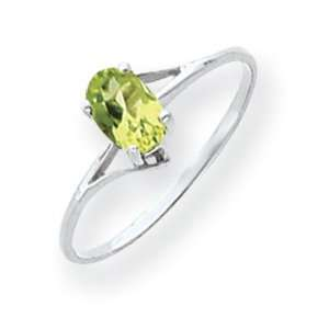 14k Gold White Gold 6x4mm Oval Peridot ring Jewelry