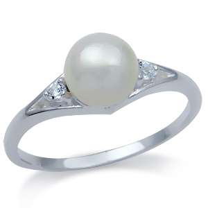 Natural Pearl & White Topaz 925 Sterling Silver Ring