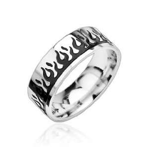 316L Stainless Steel Two Tone Ring with Black Flame   Size 9 13, 10