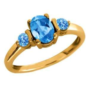 Genuine Oval Swiss Blue Topaz Gemstone 14k Yellow Gold Ring Jewelry