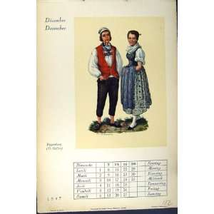 1947 Calendar December Toggenburg Swiss Clothing: Home & Kitchen