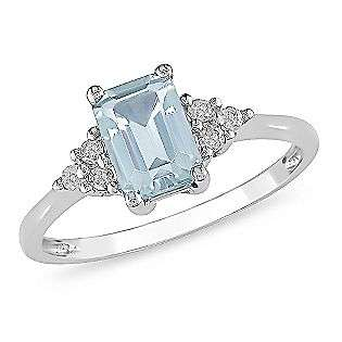 Emerald Cut Blue Topaz and Diamond Accent Ring in 10k Gold  Jewelry