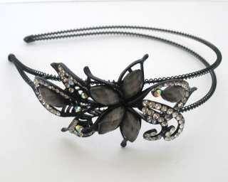 H218 Butterfly Flower Rhinestone Headbands Hair Band