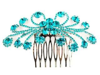 Elegant Daisy Flower Burst Blue Zircon Crystal Rhinestone Head Piece