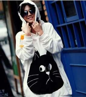Big Black Cat Face Long Fleece Warm Cat Ear Hooded Sweater Hoodies