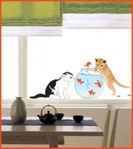 CAT FISHBOWL WALL DECAL REMOVABLE VINYL ART STICKER 137