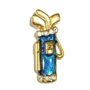 Blue Enamel Golfbag & Clubs Pin: Jewelry