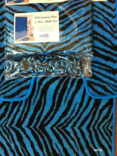 Bath rug set blue zebra animal print bathroom shower curtain mat/rings