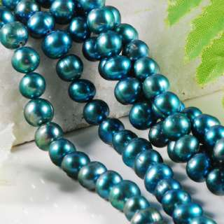 7x8mm SEA GREEN FRESHWATER PEARL OVAL Loose Beads 15