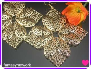 Gold Tone Sexy Leaves Dangle Earrings Jewelry E106