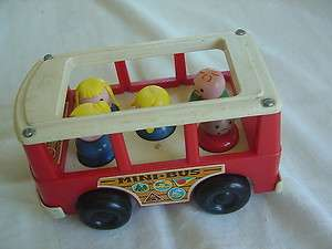 vtg 141 FISHER PRICE MINI BUS TOY 1969 LITTLE PEOPLE