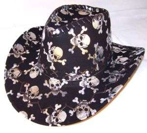 SILVER SKULL X BONE COWBOY HAT western headwear hats
