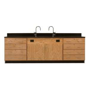 Wall Service Bench with Storage Cabinets Drawers Only