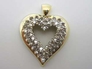 10k Yellow Gold 1ct tw Diamond Heart Pendant WOW