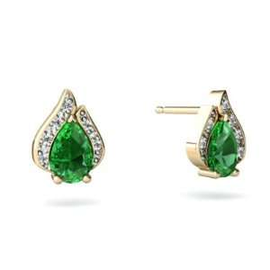 14K Yellow Gold Pear Created Emerald Flame Earrings Jewelry