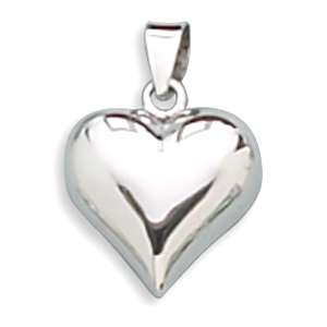 925 Sterling Silver Puffy Love Heart Necklace Pendant