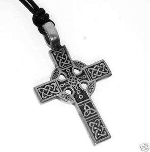 Silver PEWTER CELTIC Knot CROSS Christian Irish PENDANT