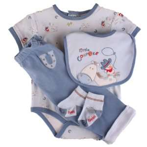 Vitamins Newborn Baby Boys 4 pc Little Cowpoke Pant Set with Matching