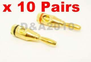 20 pcs banana plug gold plated red black ringed connectors