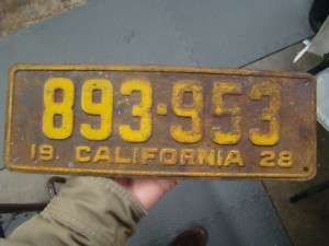 1600 old vintage California license plate from 1928