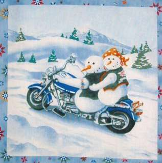 Christmas Motorcycle Snowmen 7 quilt block squares Biker chopper