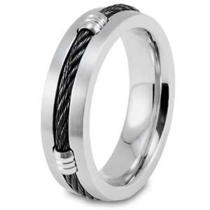 Steel with Black Cable Ring   Size 9.0 West Coast Jewelry Jewelry