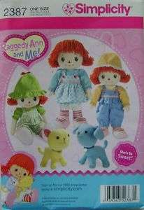 Sewing PATTERN 2387 16 Rag Doll Dog Cat Stuffed Animals Clothes
