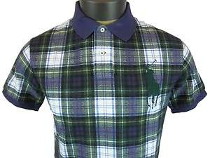 New Mens Polo Ralph Lauren Custom Fit Big Pony Plaid Shirt Navy Blue