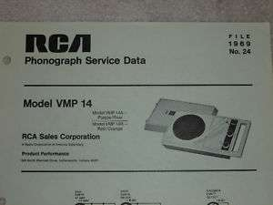 RCA 1969 Phonograph/Record Player VMP 14 SERVICE MANUAL