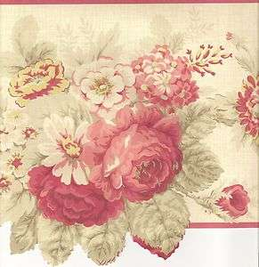 Floral Wallpaper Border / Roses Red Wall Border / Red Pink Trim