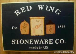 Primitive Country Wood Sign   RED WING Stoneware